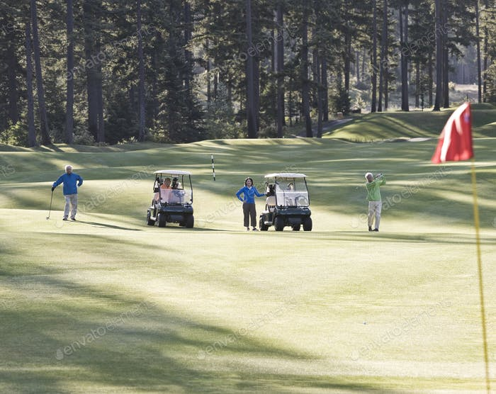 Two senior couples playing golf on a golf course.