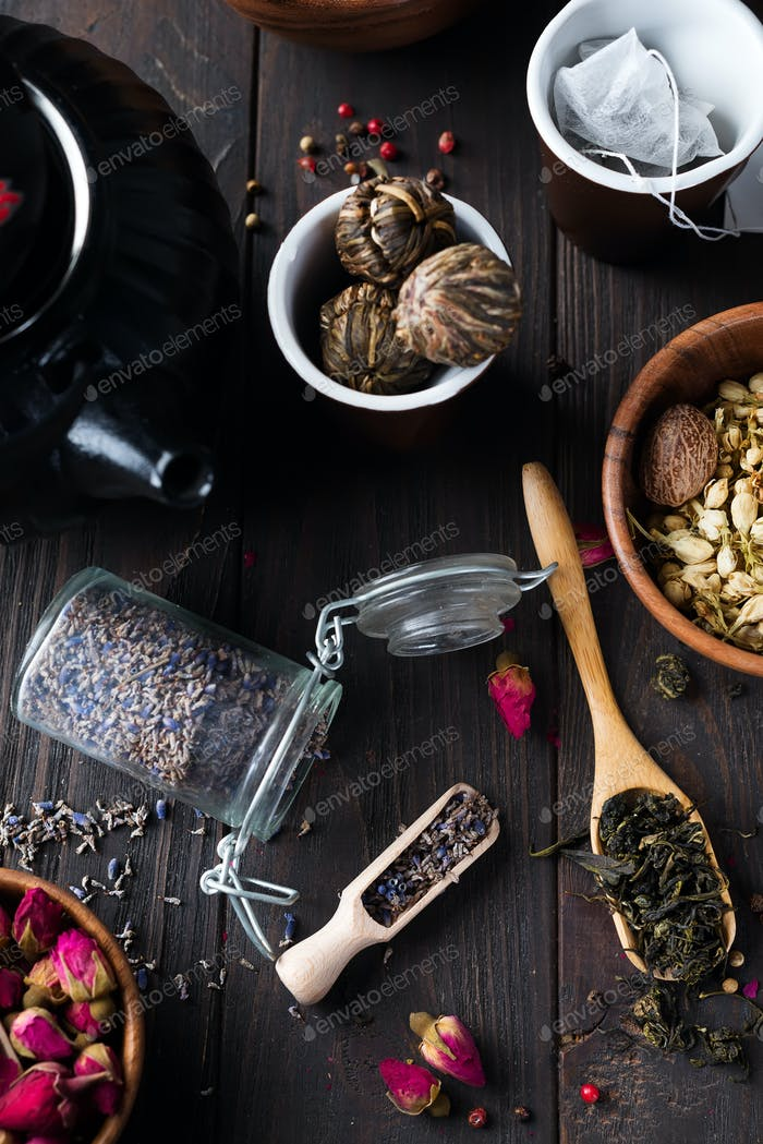 Herbal natural floral tea infusion with dry flowers lavender ingredients