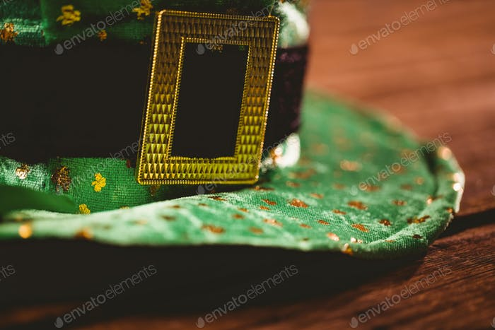 St patricks day hat on wooden table