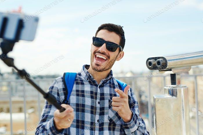 Selfie of traveler