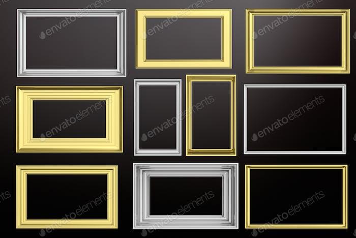 Rahmen golden und silber isoliert auf schwarzem Hintergrund Kopie Raum, 3D Illustration