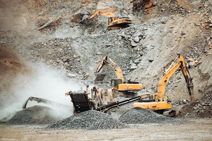 Heavy duty machinery working on quarry