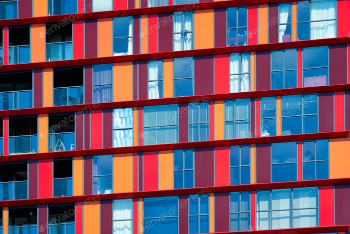 Modern residential building facade with windows and balconies. Rotterdam