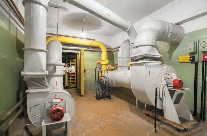 Big old air ventilation system in shelter