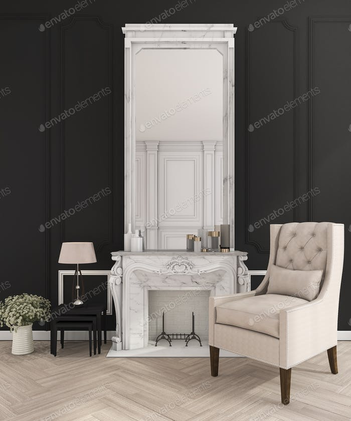 3d rendering black classic wall in make up room