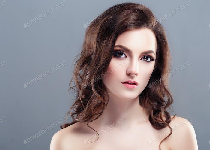 Beautiful Woman Brunette Red Lips Healthy Beauty Skin Smile. Spa Beautiful Model Girl