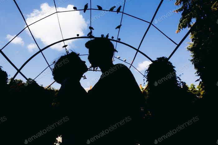 Silhouette des Paares auf einem Himmel Hintergrund