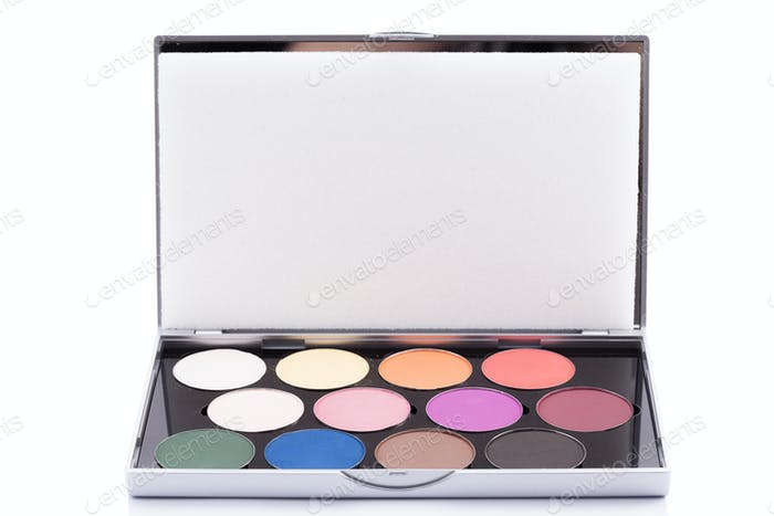 Eyeshadow of different colors over white background