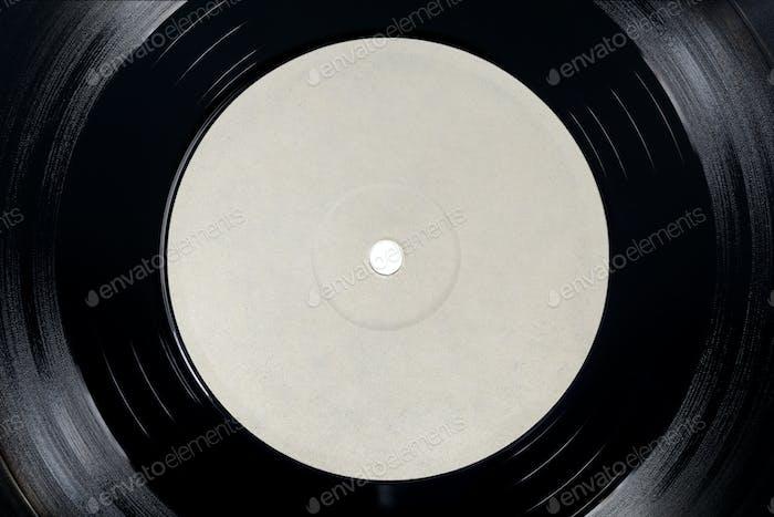 White blank label of LP vinyl record.