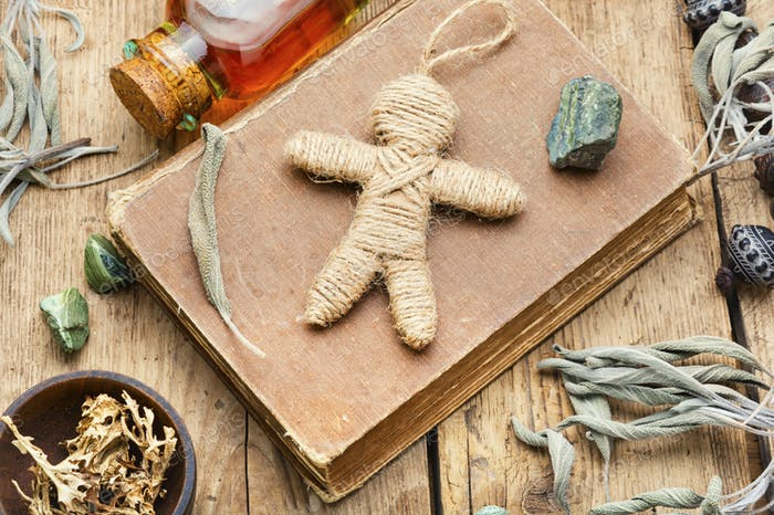 Voodoo doll,a doll used in witchcraft