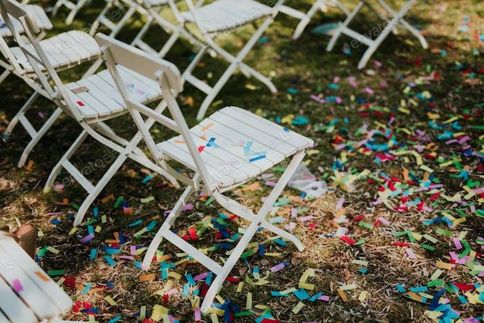 Confetti after wedding