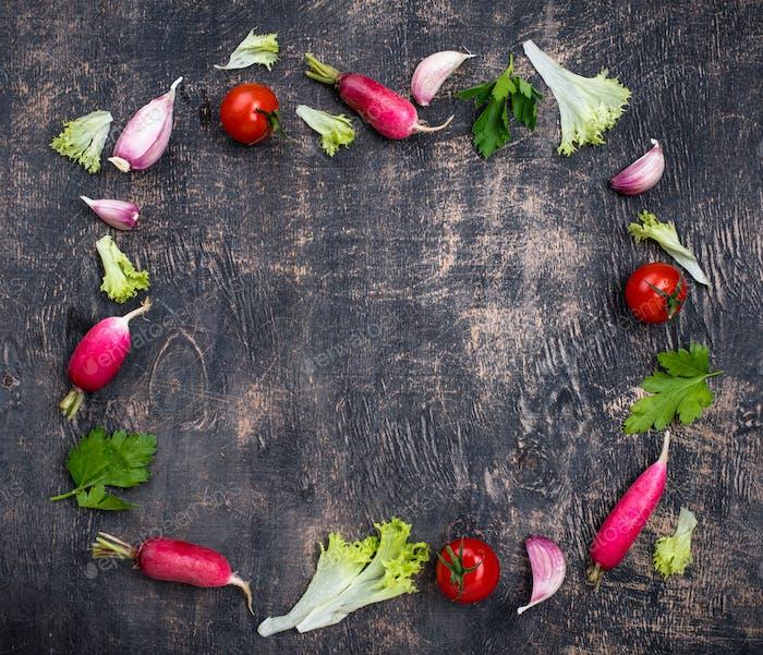 Various farm organic healthy vegetables