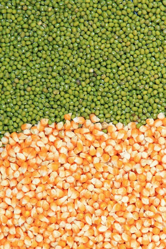 Green mung beans and corn grains