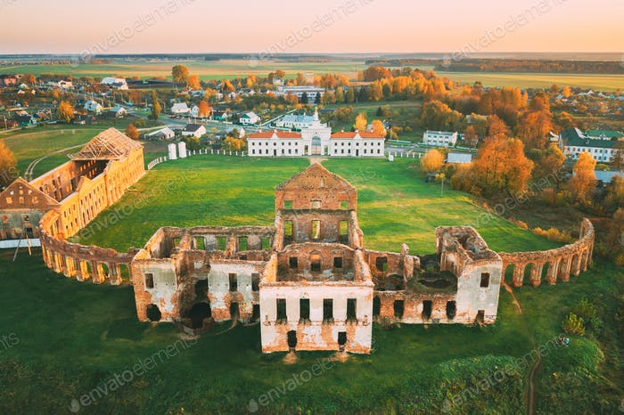 Ruzhany, Brest Region, Belarus. Cityscape Skyline In Autumn Sunny Evening. Bird's-eye View Of