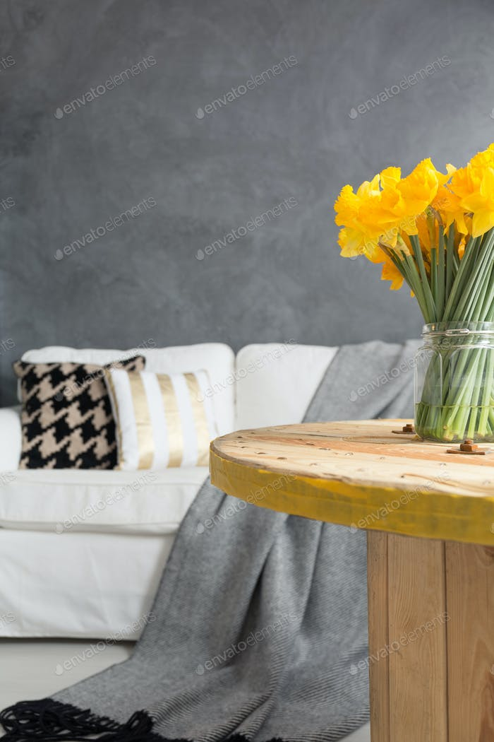 Table with daffodils