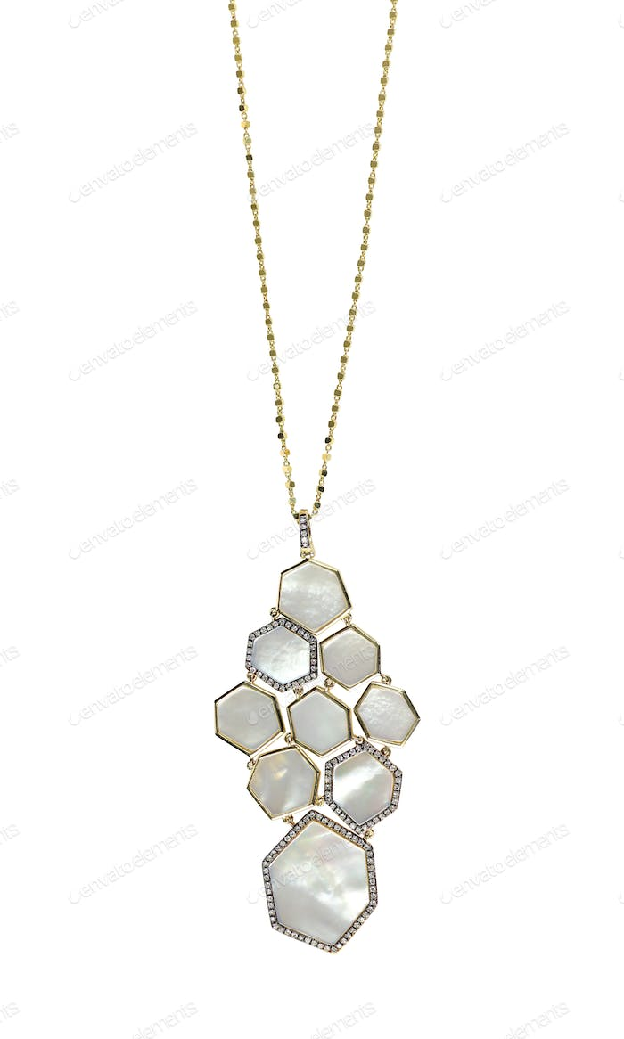 White Mother of pearl shell pendant necklace on chain. Fine jewelry