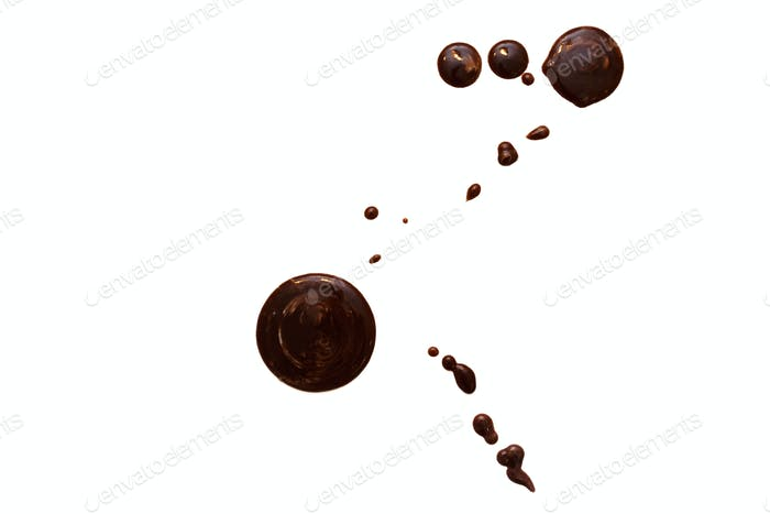 Сlose up chocolate stains on white background