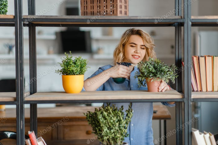 Young woman sprays home plants on the shelf