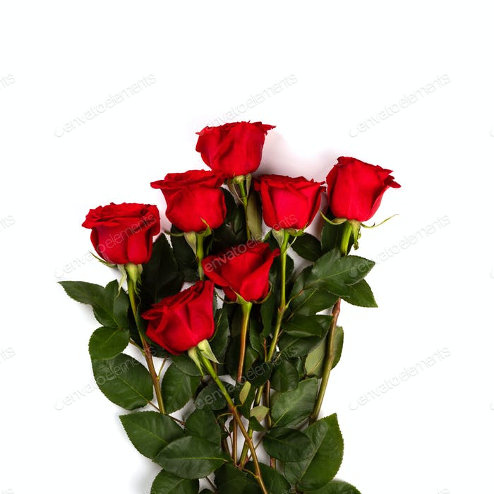 Red Bouquet of fresh roses .Traditional gift holiday