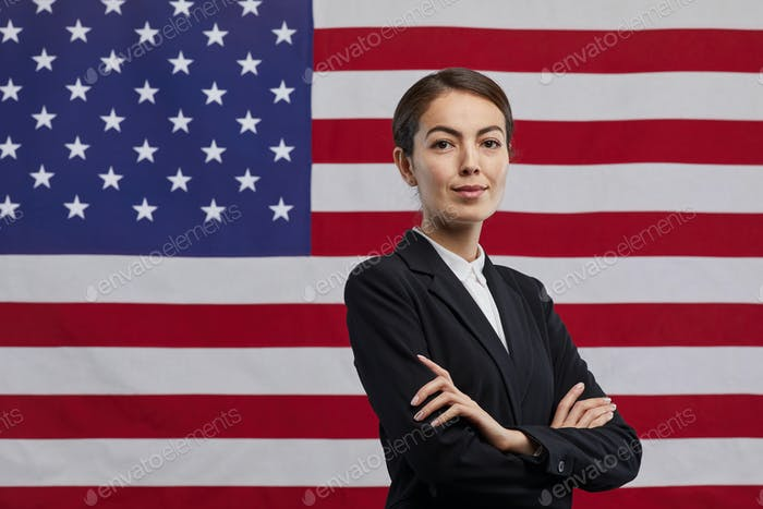 Confident Female Politician against American Flag