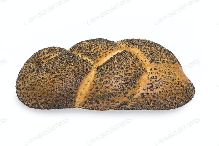 Bread With Poppy Seeds Isolated On A White Background