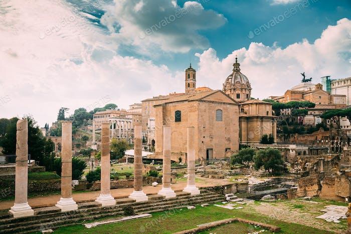 Rome, Italy. Temple Of Peace And Basilica Aemilia In The Roman F