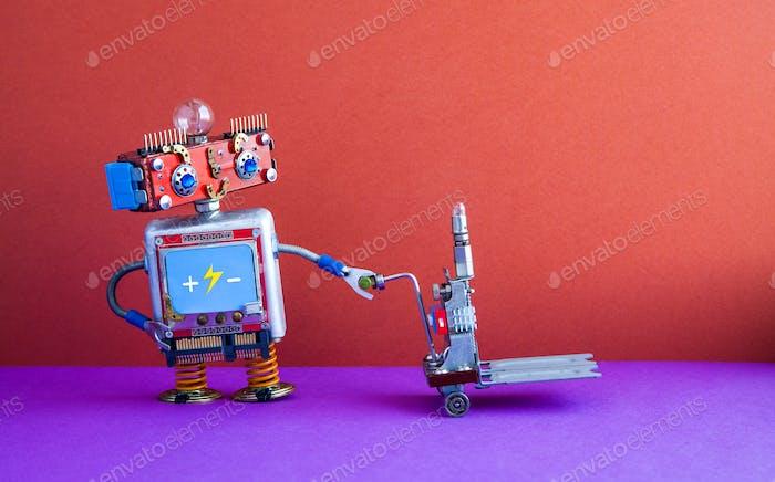 Roboterlader mit betriebenem Palettenheber.