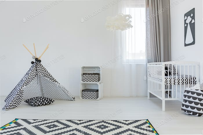 Baby room with white cot