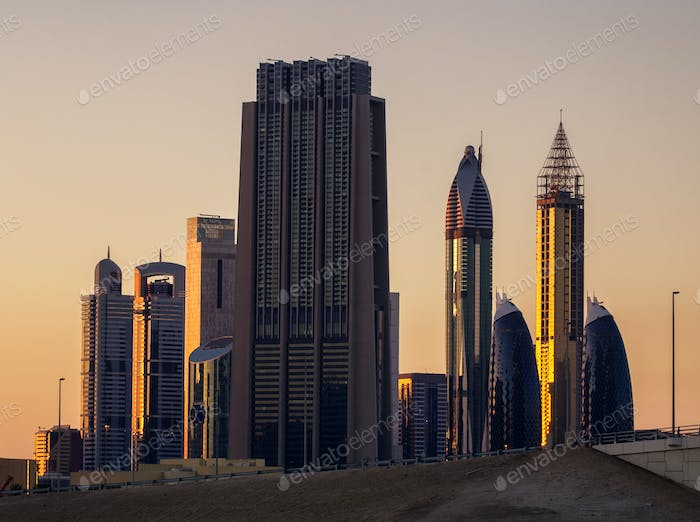 Skyscrapers in Sheikh Zayed road area. Downtown, Dubai, United Arab Emirates.