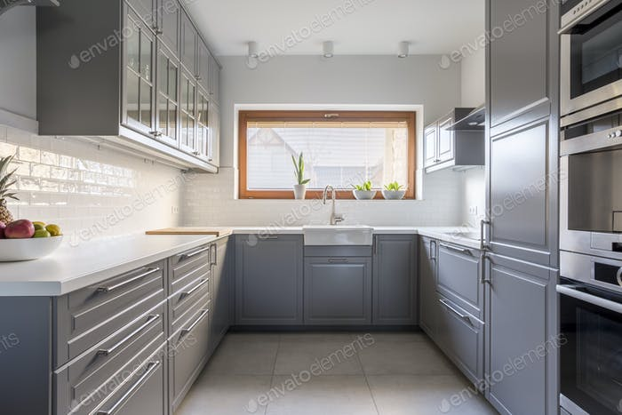 Spacious kitchen with window
