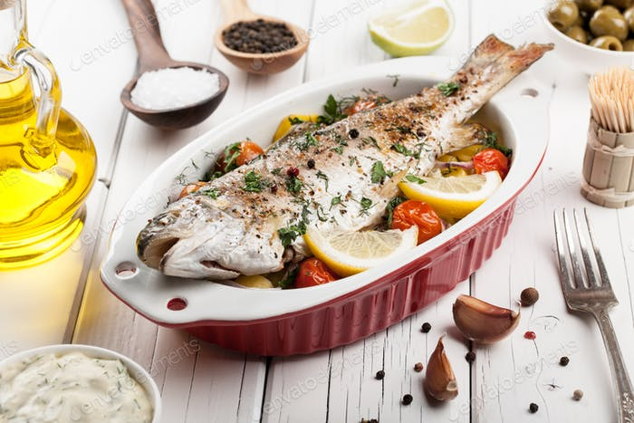 Baked fish trout with vegetables