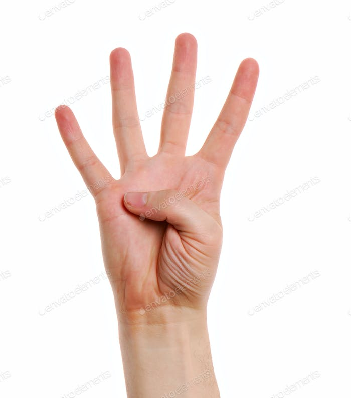 Man hand with  gesture number four