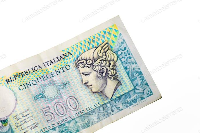 Billete antiguo de 500 liras