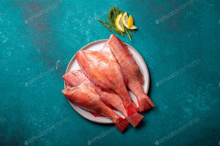 Fresh red sea bass on blue background.
