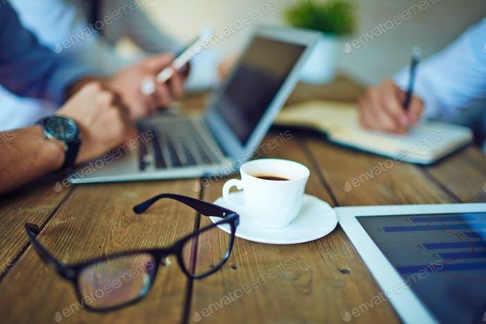 Coffee and eyeglasses