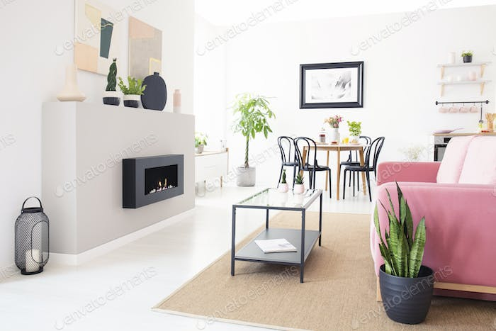Real Photo Of Bright Nordic Living Room Interior With Dining Tab Gorgeous Bright Living Room Interior