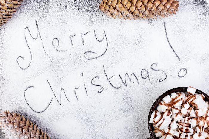 Merry Christmas Text on Snow.