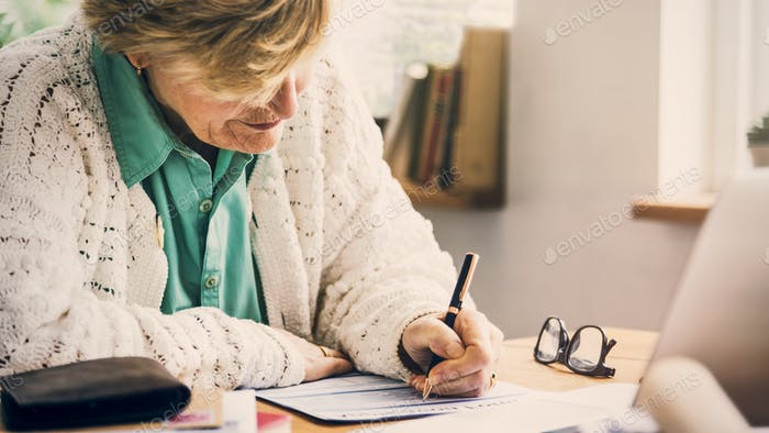 Application Form Filling Paperwork Senior Adult Concept
