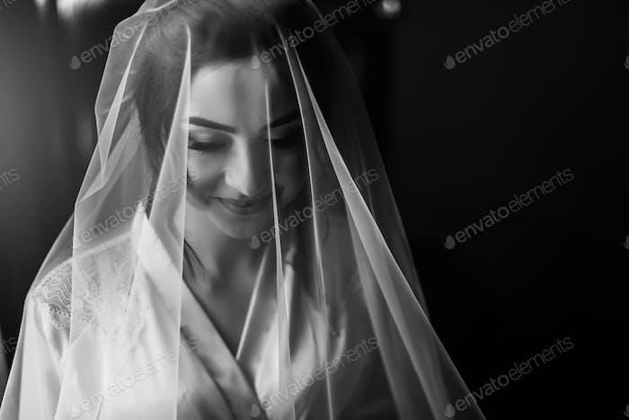gorgeous bride portrait with amazing make-up near window