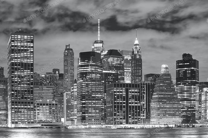 New York City skyscrapers at night.