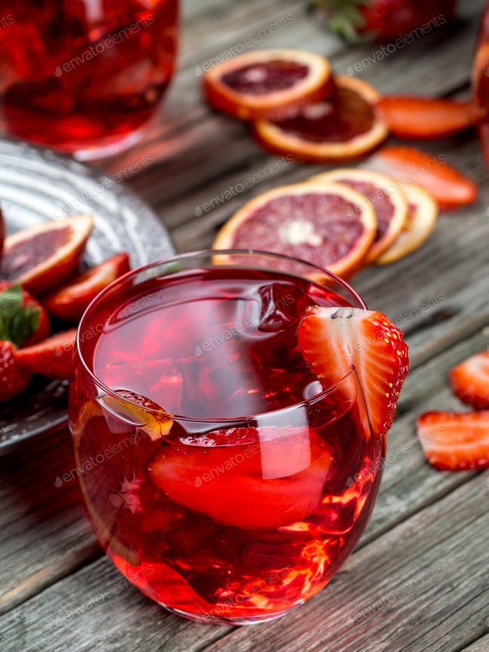 Blood orange strawberry rum punch