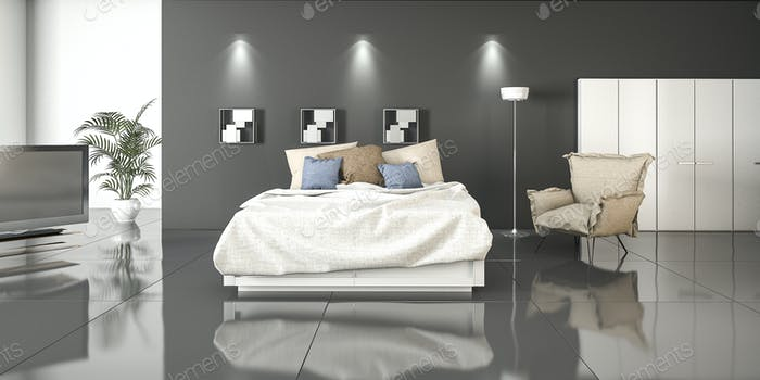 3d rendering reflection bedroom with plants