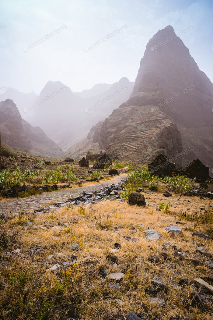 Santo Antao Island, Cape Verde. Aranhas mountain peak in the decay ruine valley houses. Stony hiking