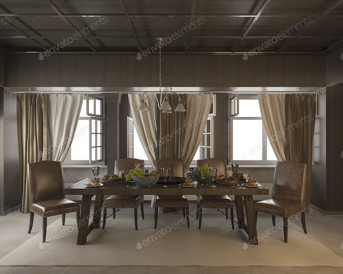 3d rendering dining table with food and fruit in classic style room