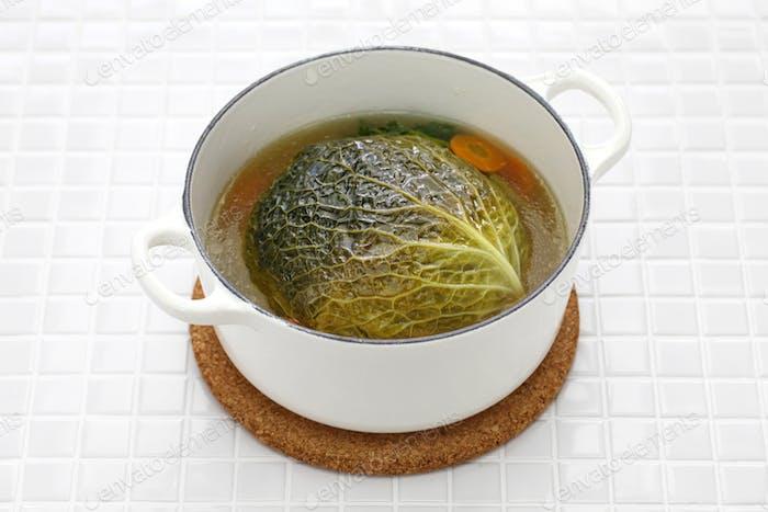 chou farci, stuffed cabbage,traditional french cuisine