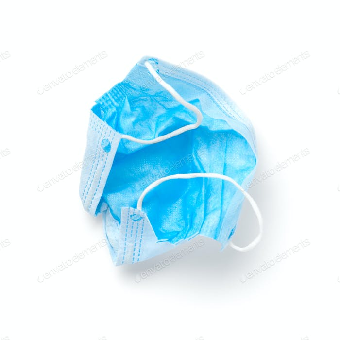 Blue medical mask top view isolated on white background