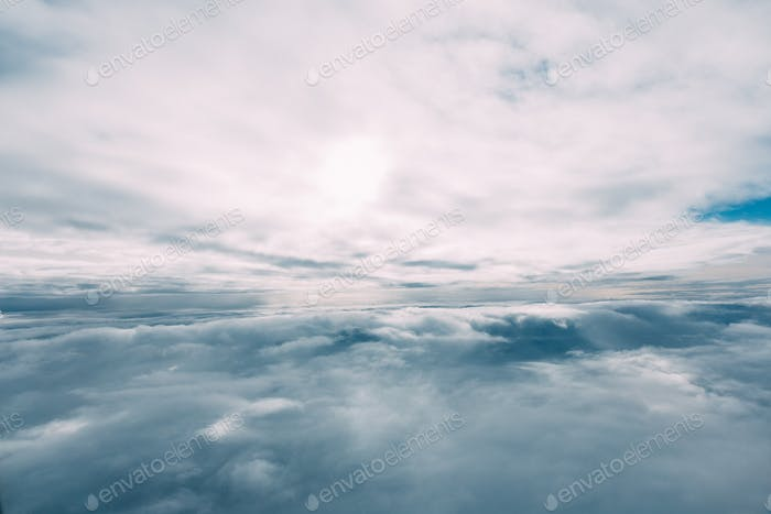 beautiful tranquil blue sky with white clouds