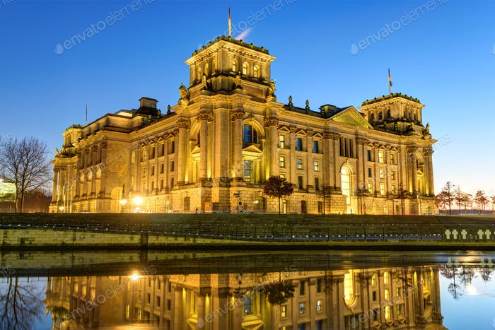 The Reichstag building at the river Spree in Berlin
