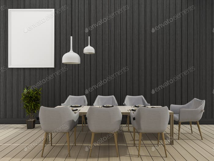 3d rendering black wall dining room with minimal dining set