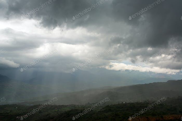 Storm in a Valley in Santander, Colombia